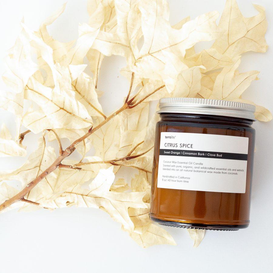 CITRUS SPICE Essential Oil Candle with natural coconut wax, Sweet Orange, Cinnamon & Clove pure essential oils. 8oz