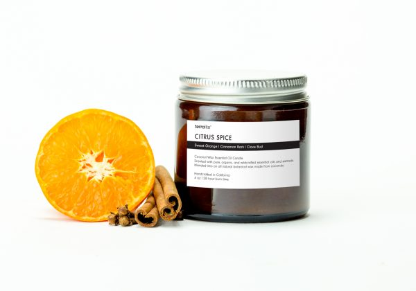 CITRUS SPICE {travel} Coconut Wax Essential Oil Candle with sweet orange, cinnamon and clove essential oils