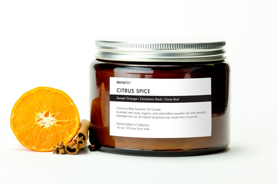 CITRUS SPICE {tri-wick} Coconut Wax Essential Oil Candle with sweet orange, cinnamon and clove essential oils