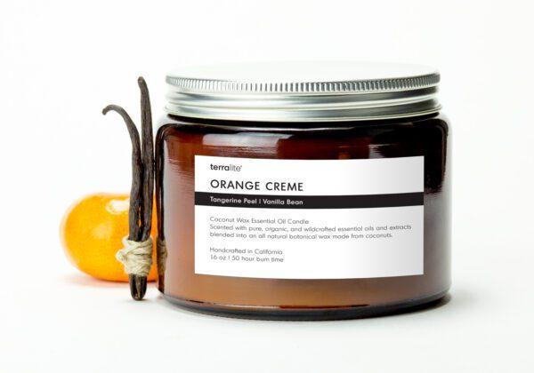 ORANGE CREME {tri-wick} Coconut Wax Essential Oil Candle with sweet orange and vanilla essential oils