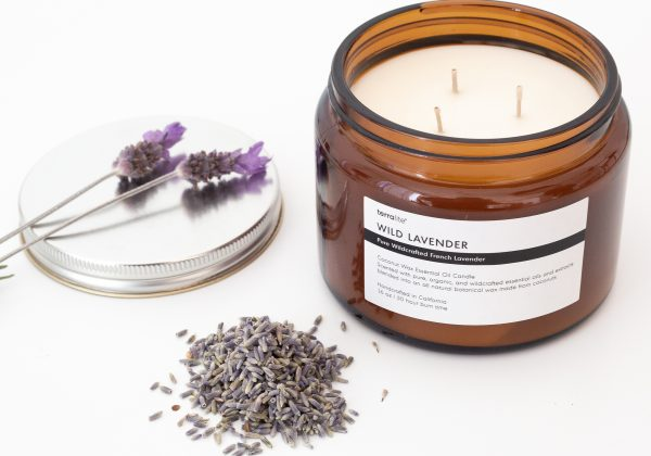 WILD LAVENDER essential oil candle made with natural coconut wax, wildcrafted French lavender essential oils. 16oz