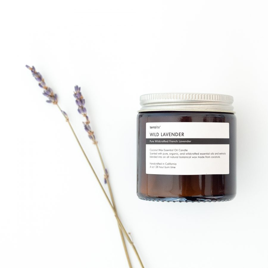 WILD LAVENDER essential oil candle made with natural coconut wax, wildcrafted French lavender essential oils. 4oz