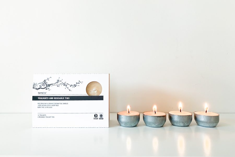 FAIR TRADE - 12 TEALIGHTS + 4 REUSABLE TINS, ALL NATURAL, ORGANIC