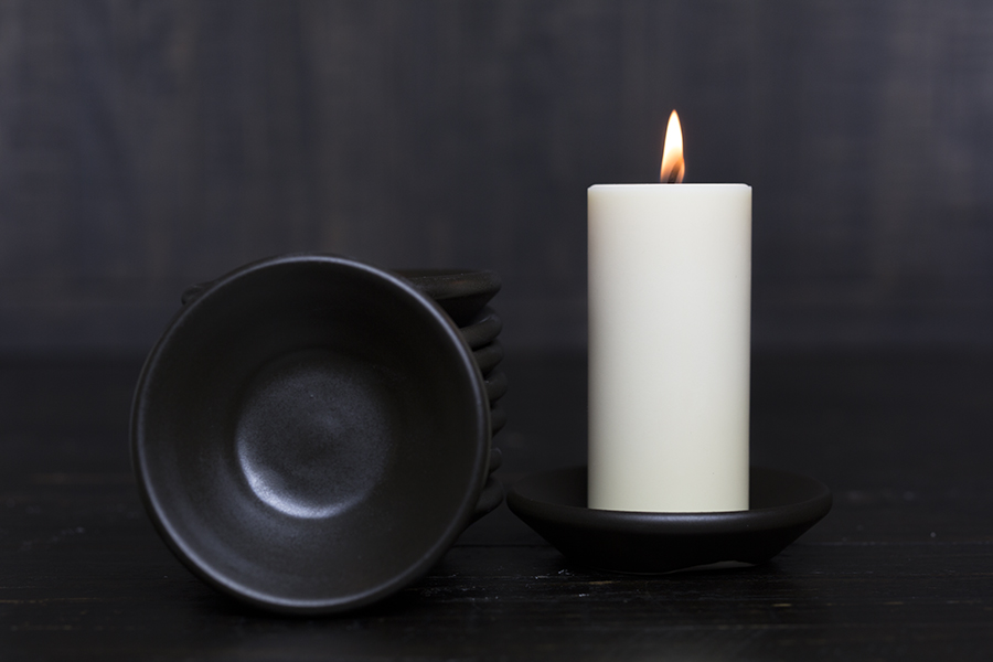 STONEWARE CANDLE HOLDER {matte brown}