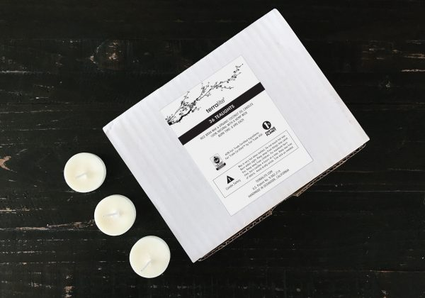 Natural Tealights made with Organic Coconut Oil and Rice Bran Wax. Fair Trade Certified candles. 36-pack