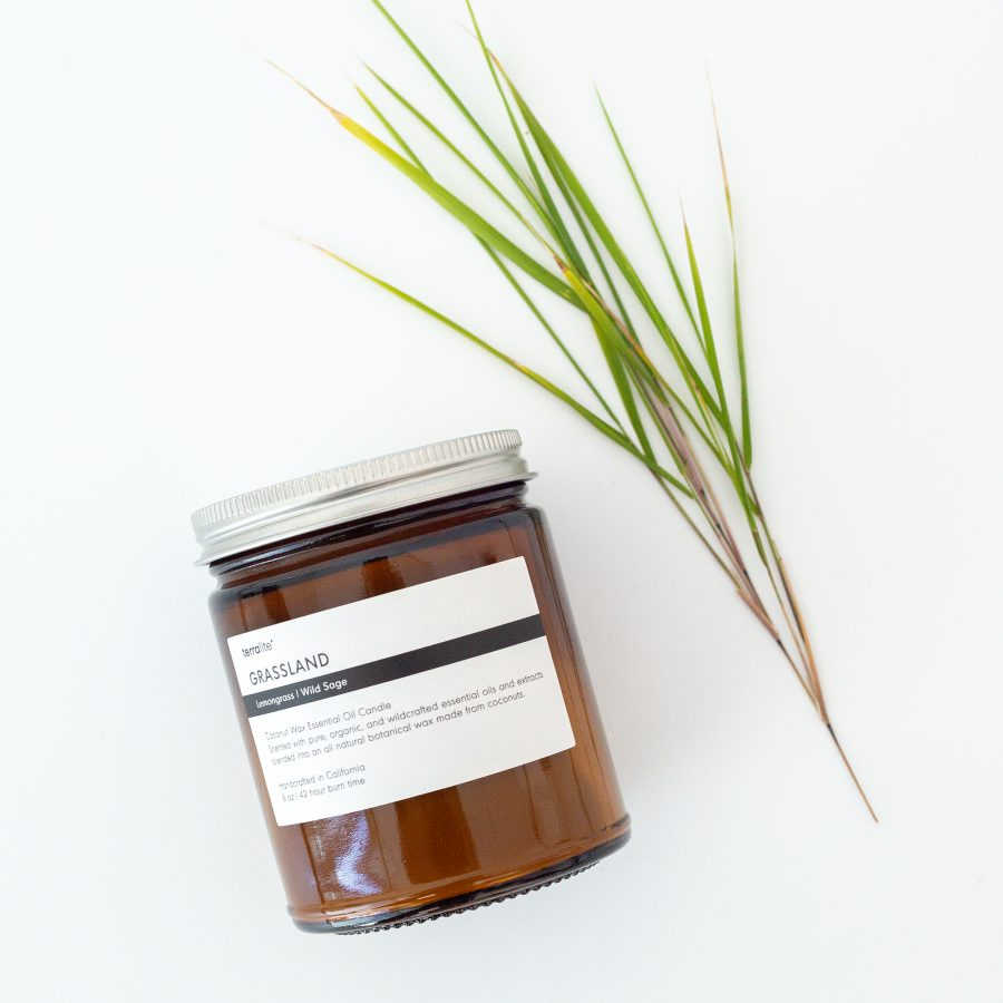 GRASSLAND Essential Oil Candle with natural coconut wax, lemongrass and wild sage essential oils - 8oz