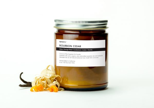 BOURBON CEDAR {classic} Coconut Wax Essential Oil Candle with bitter orange, cardamom, cedar and vanilla essential oils