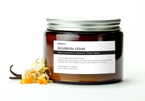 BOURBON CEDAR {tri-wick} Coconut Wax Essential Oil Candle with bitter orange, cardamom, cedar and vanilla essential oils