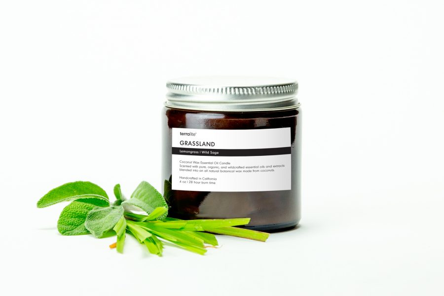 GRASSLAND {travel} Coconut Wax Essential Oil Candle with lemongrass and wild sage essential oils