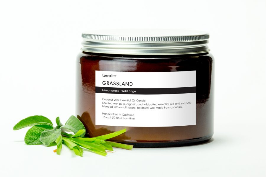 GRASSLAND {tri-wick} Coconut Wax Essential Oil Candle with lemongrass and wild sage essential oils
