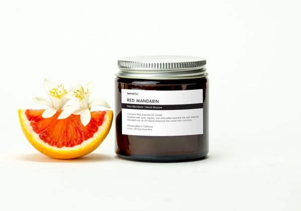 RED MANDARIN {travel} Botanical Coconut Wax Candle with red mandarin and neroli essential oils
