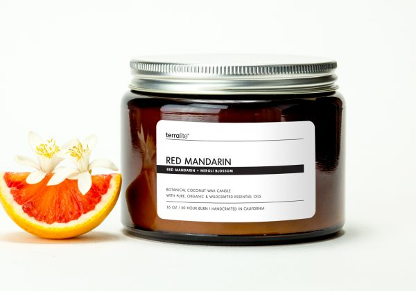 RED MANDARIN {tri-wick} Botanical Coconut Wax Candle with red mandarin and neroli essential oils