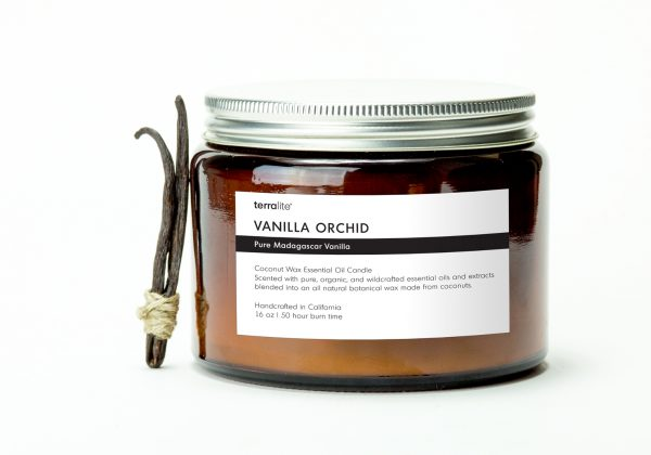 VANILLA ORCHID {tri-wick} Coconut Wax Essential Oil Candle with pure vanilla essential oils