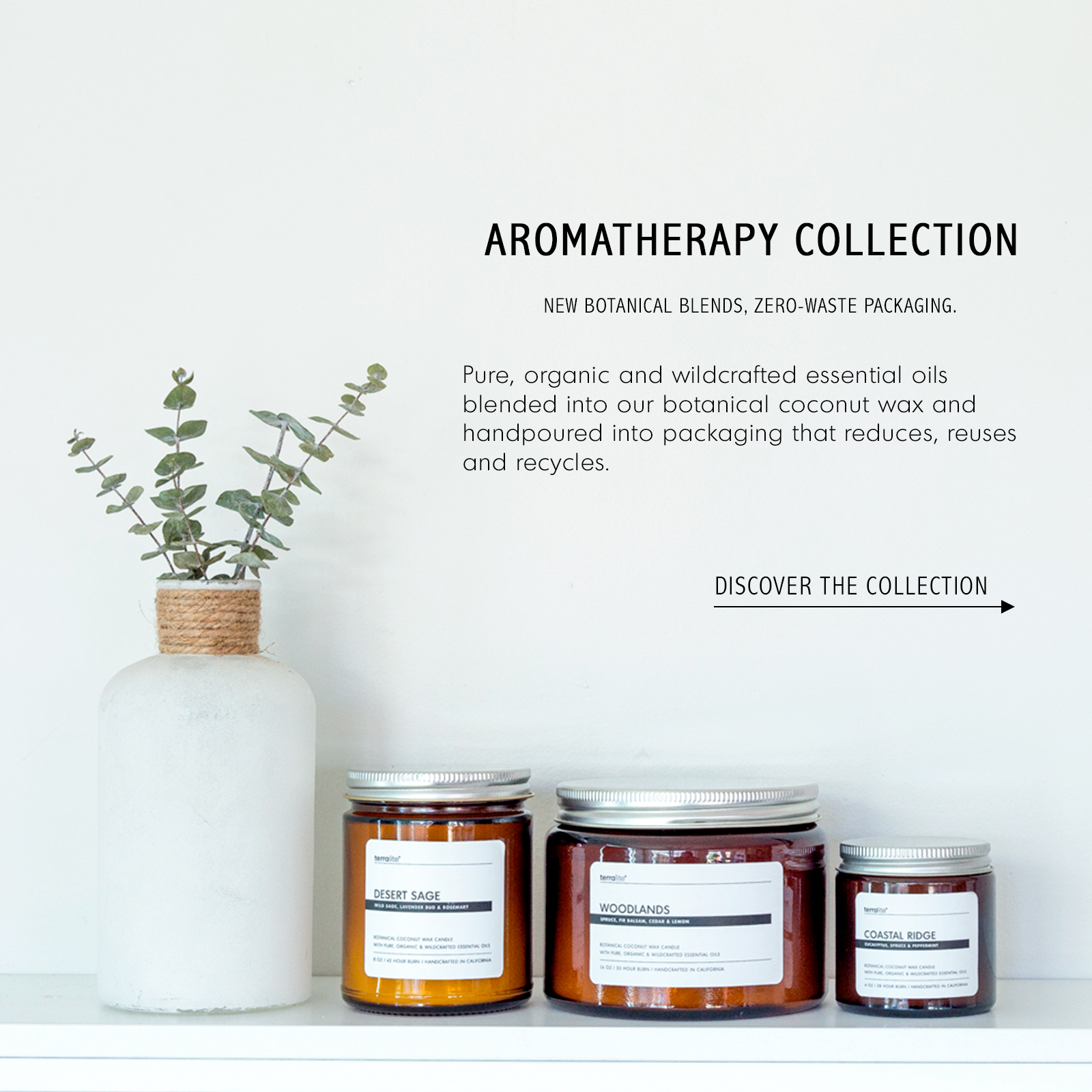 TERRALITE AROMATHERAPY COLLECTION - COCONUT WAX CANDLES WITH PURE, ORGANIC AND WILDCRAFTED ESSENTIAL OILS. 100% NATURAL