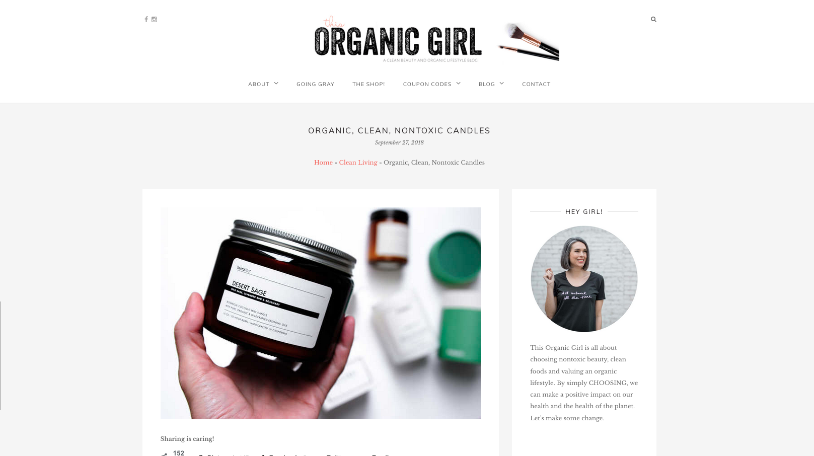 This Organic Girl Non Toxic Candles