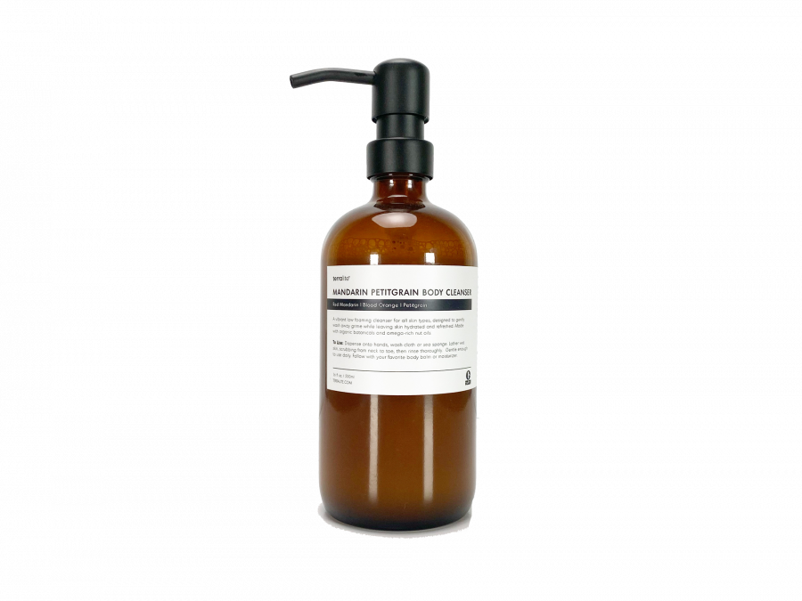 16 oz. Mandarin Petitgrain Organic Body Cleanser in amber glass bottle with a stainless steel pump