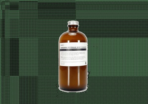 16 oz. Refill Mandarin Petitgrain Organic Body Cleanser in amber glass bottle
